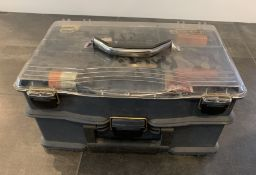 TACKLE BOX FULL OF GUN RIFFLE RELATED ACCESSORIES , CLEANING TOOLS, CLEANING PRODUCTS.