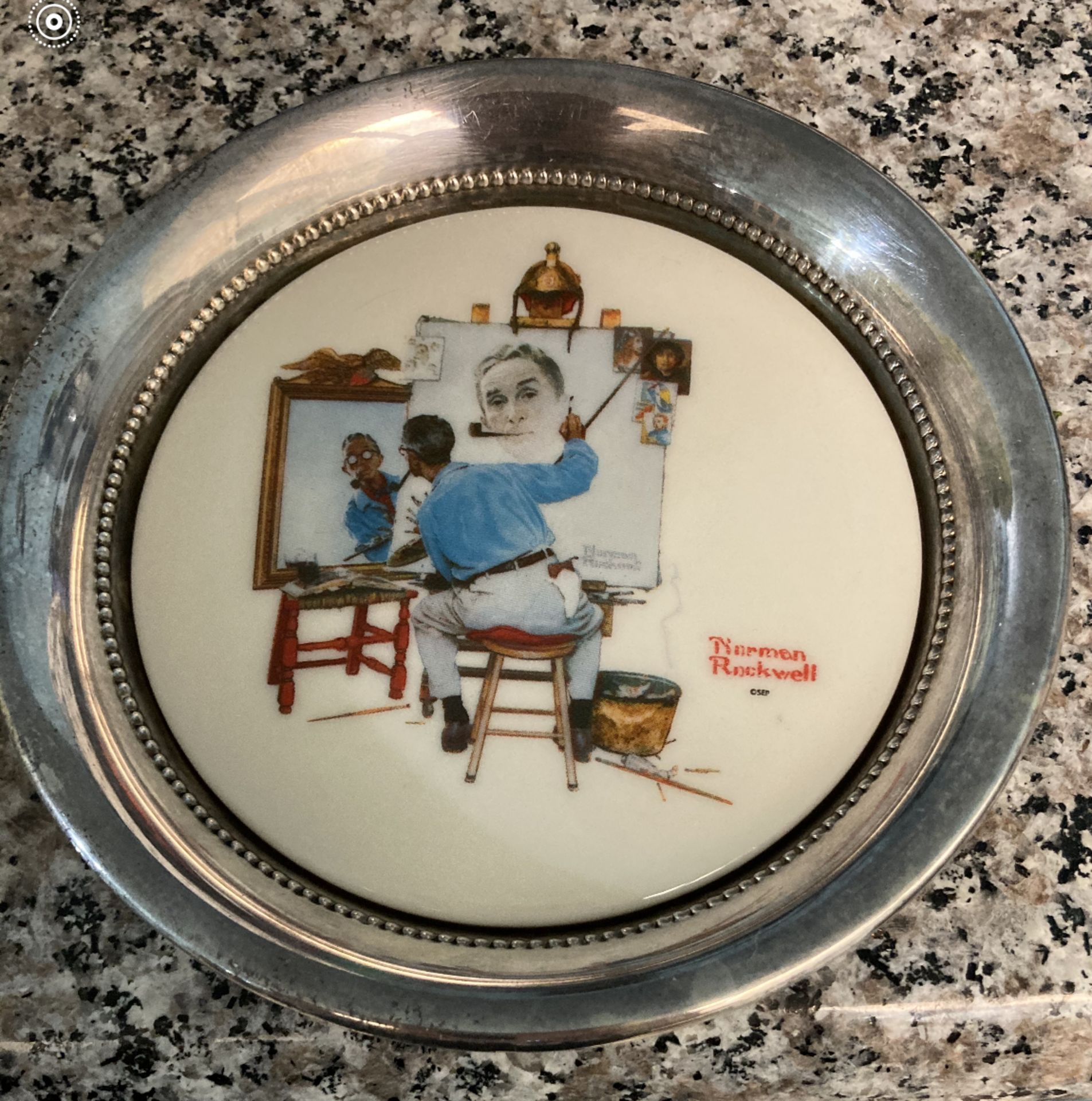 Norman Rockwell Plate in Silver (possibly plated) - Corham Collectors Society, First Edition, GCS 1