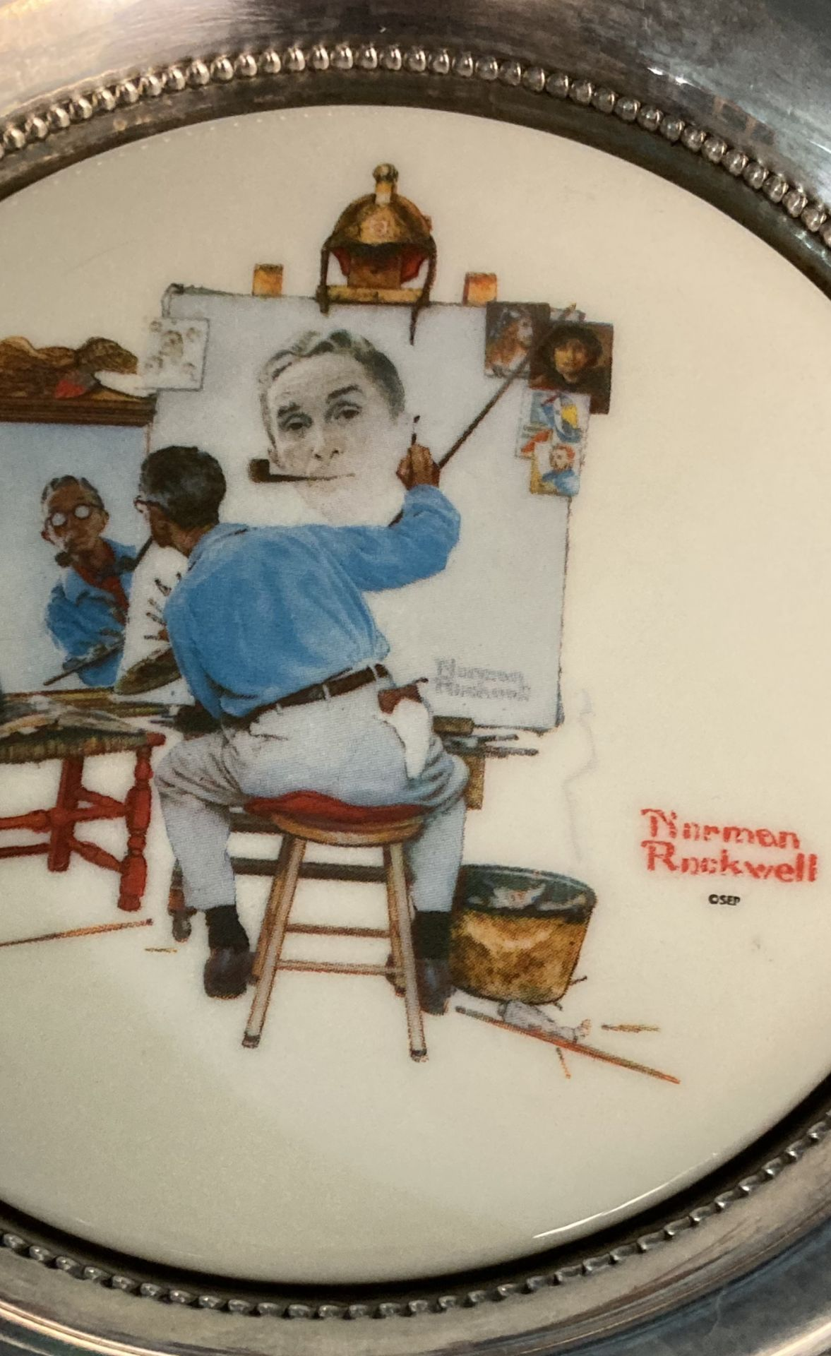 Norman Rockwell Plate in Silver (possibly plated) - Corham Collectors Society, First Edition, GCS 1 - Image 2 of 3