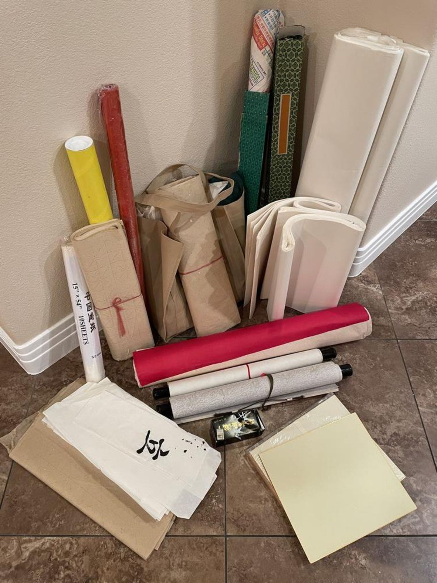 Large collection of Calligraphy Paper, Scrolls, Ink Etc