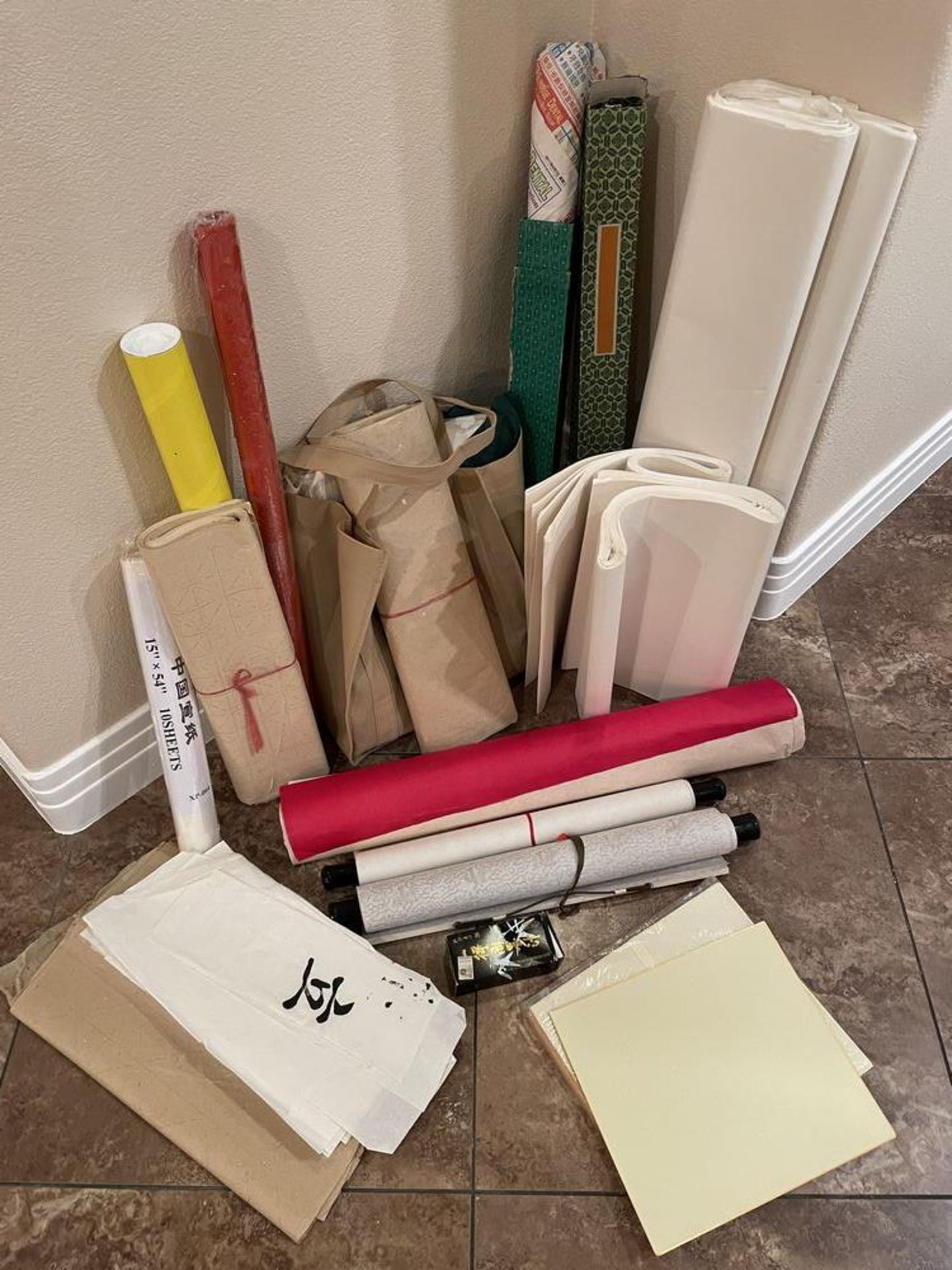 Large collection of Calligraphy Paper, Scrolls, Ink Etc - Image 6 of 7