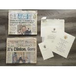 Bill Clinton Memorabilia Collection of Inauguration Invitation Letter, and Newspapers from 1992 and