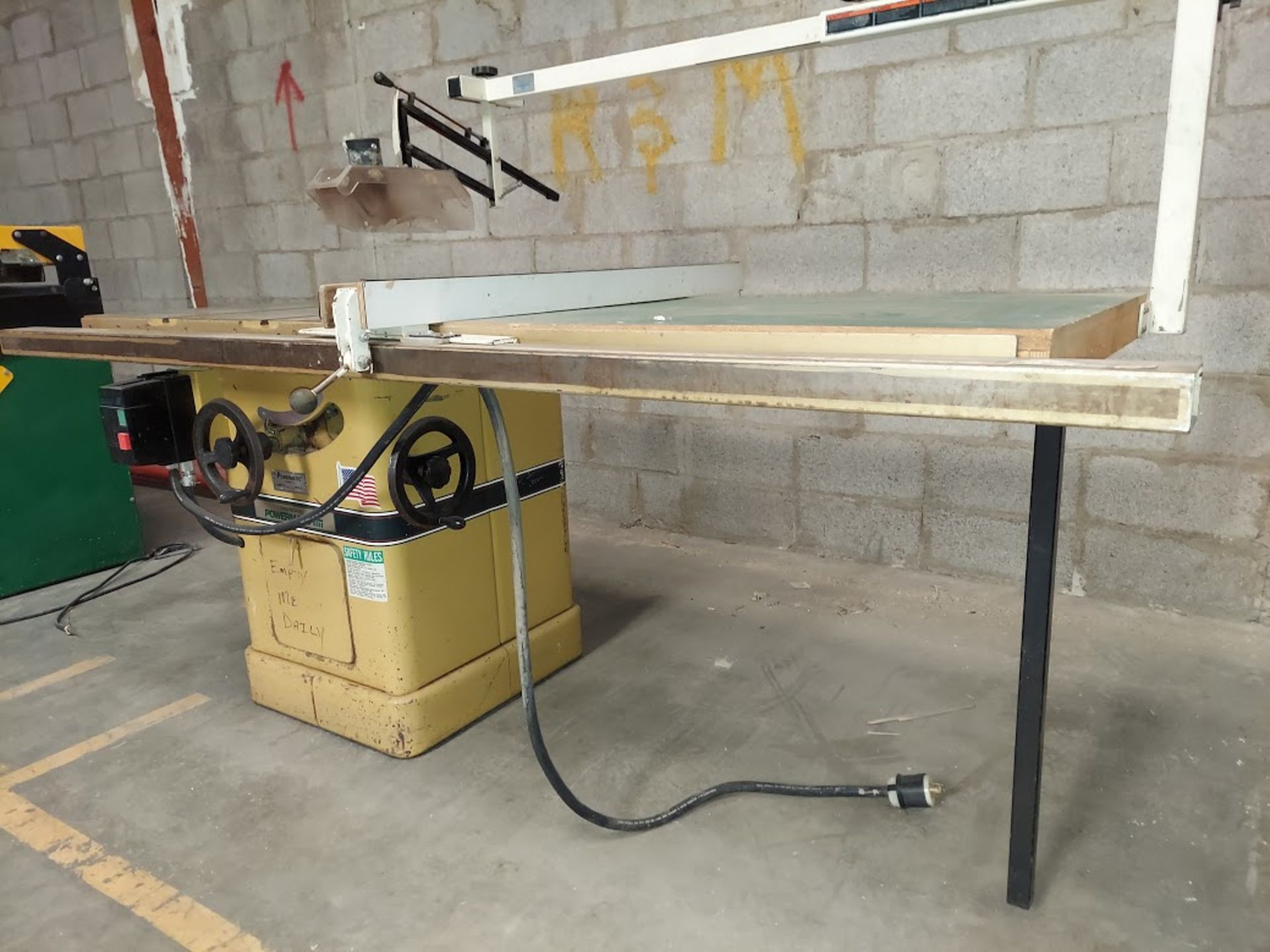 """Powermatic 10"""" Table Saw, Model #66 53"""" Rails & Fence, Baldor 5HP 230 Volts 3 Phase Motor, - Image 2 of 5"""