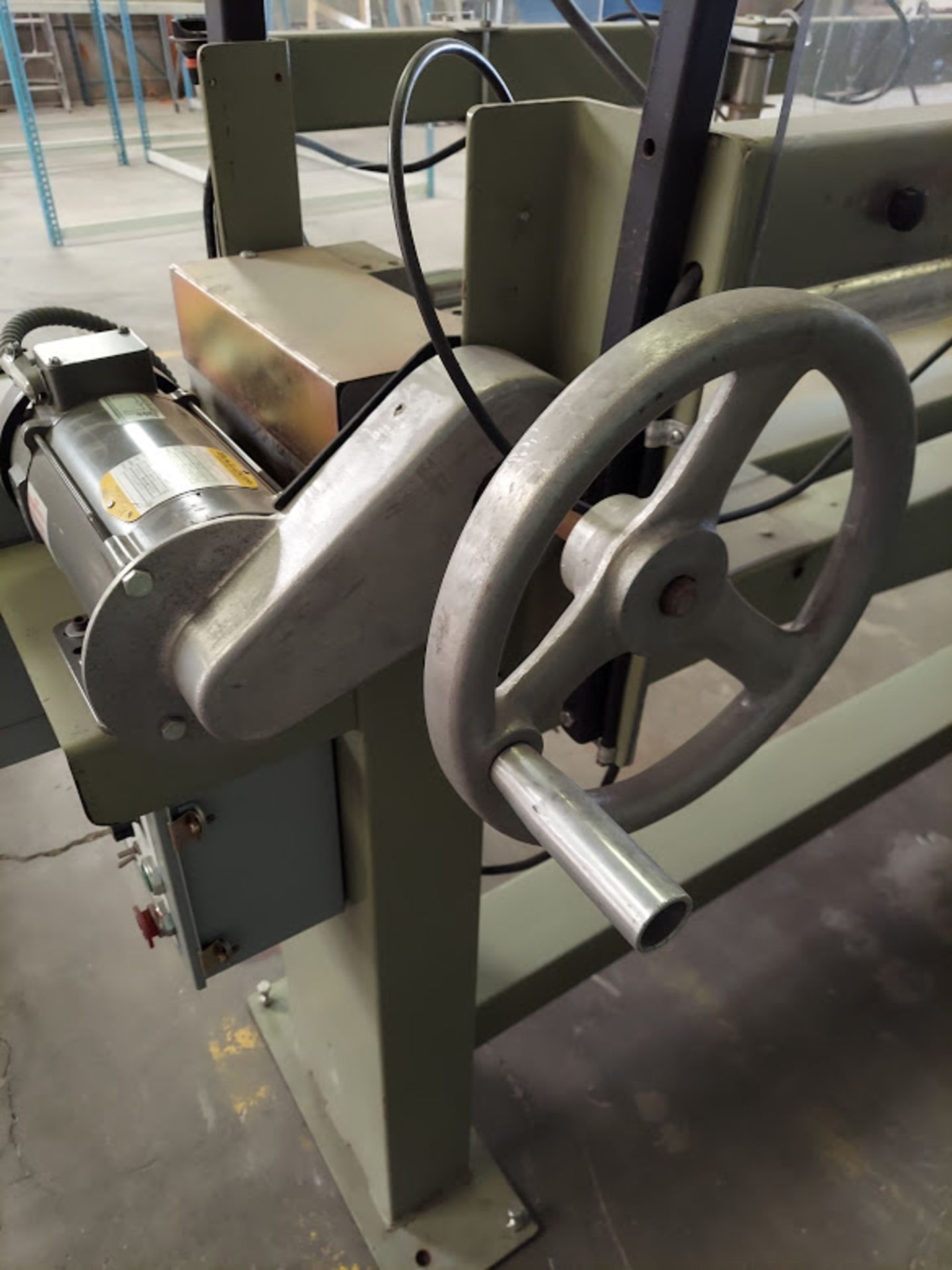 """Peterson 12"""" Panel Saw, 3 HP, 230/460 Volt 3 Phase, Pallet of Infeed and Outfeed Tables, Pneumatic - Image 3 of 9"""