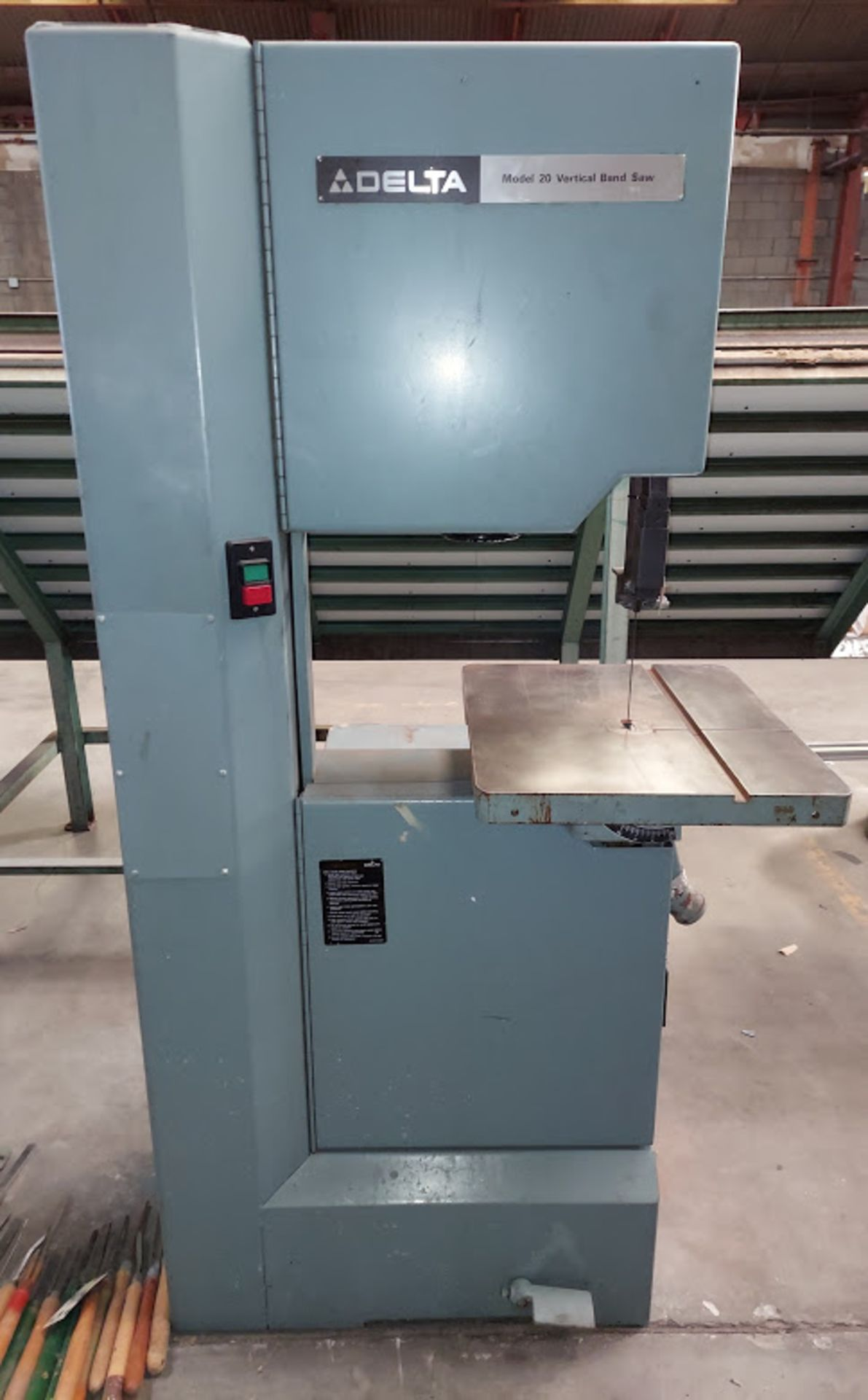 """Delta 20"""" Wood Cutting Bandsaw, Model #28-654, 2 HP 230 Volts 3 Phase, 2 Step Pully"""