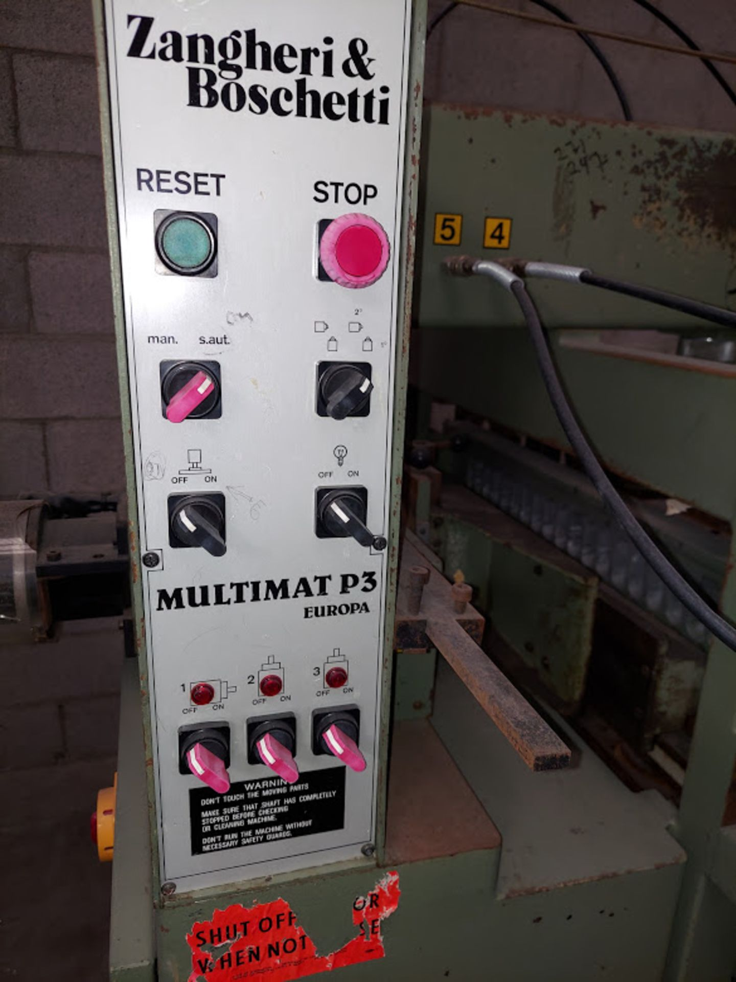 Zangheri & Boschetti Mulit Mat P3 Line Boring Machine, Model #MP3, 1 - 21 Spindle Horizontal Drill - Image 4 of 7