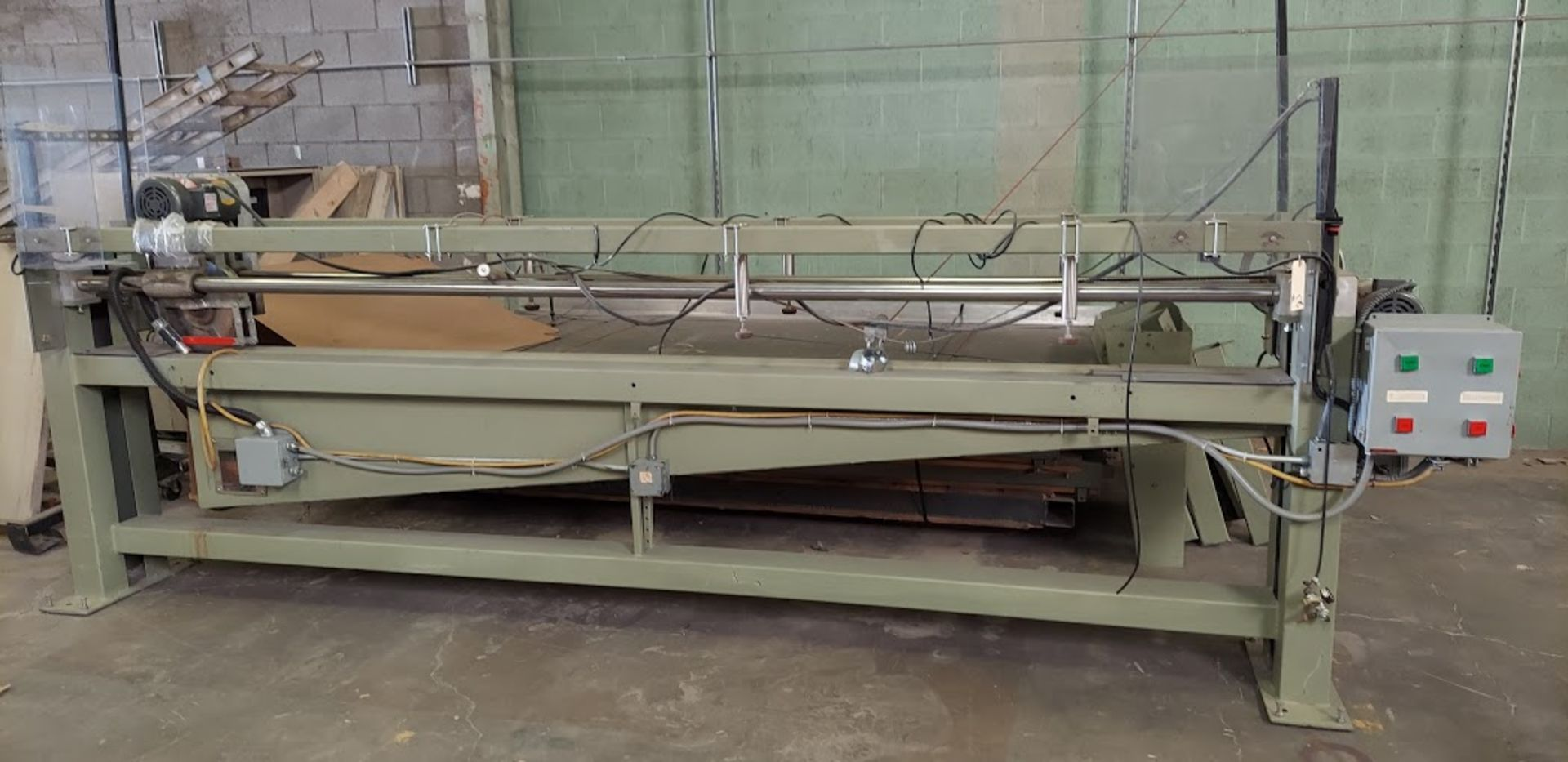 """Peterson 12"""" Panel Saw, 3 HP, 230/460 Volt 3 Phase, Pallet of Infeed and Outfeed Tables, Pneumatic"""