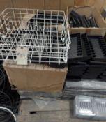 Pallet of Plastic Trays, CD Racks, Dish washer shelf
