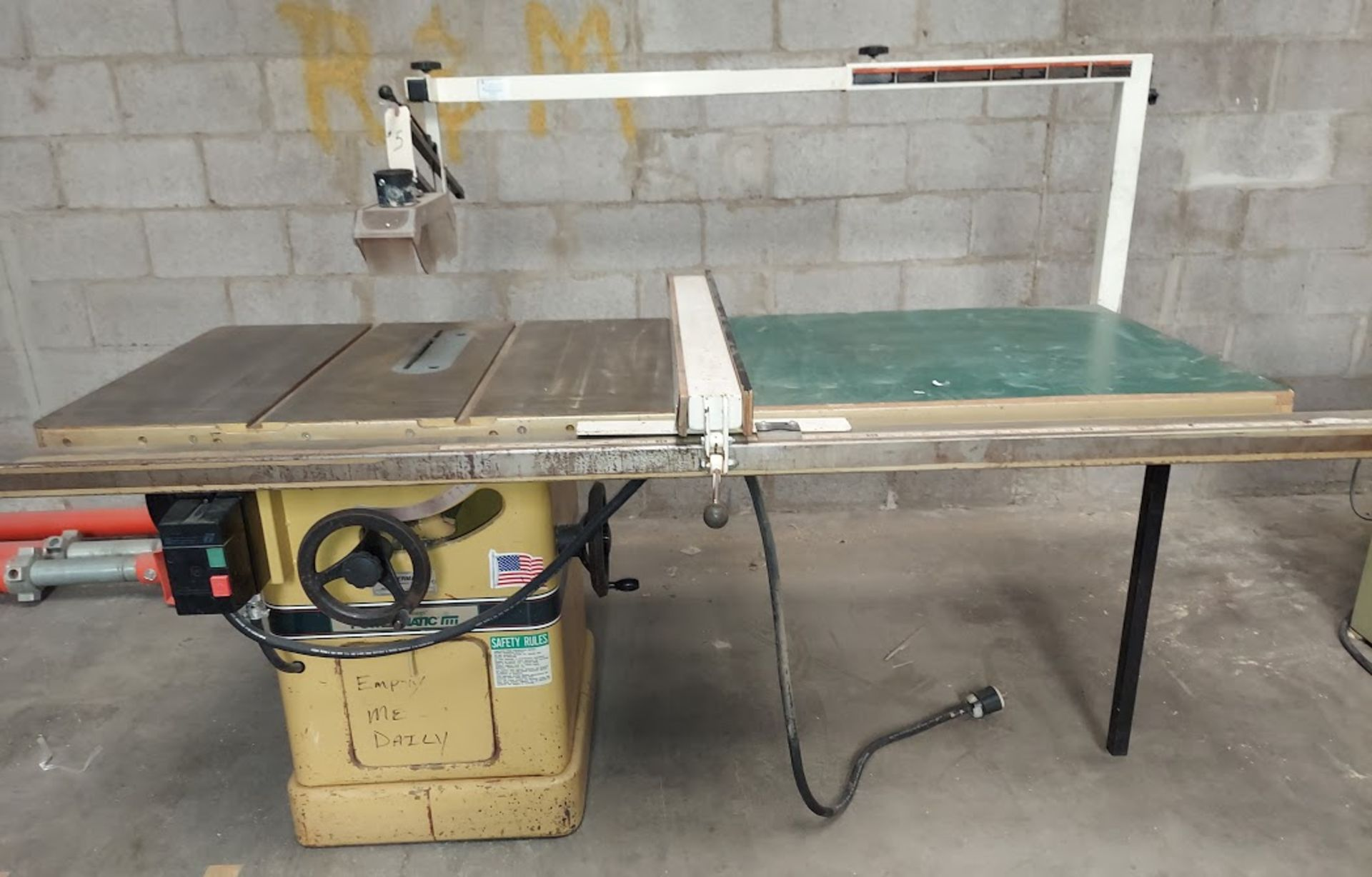 """Powermatic 10"""" Table Saw, Model #66 53"""" Rails & Fence, Baldor 5HP 230 Volts 3 Phase Motor,"""
