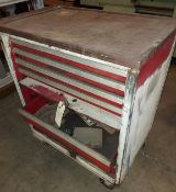 Red Mechanic Tool Box on Wheels, 6 Drawers