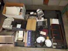 Pallet of Misc Office Supplies, Netgear Router, Adding Machines, & more