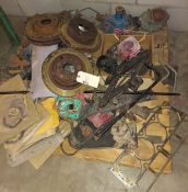 Pallet of Misc Motor Parts, Break Drums, Gaskets, Car Jack, Exhaust Manifolds, & more