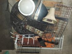 Pallet of Lights, Fan Blades, Valcom Load Speaker, Lazy Susan & Steel Wire Baskets