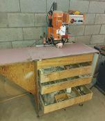 Blum mini press hinge boring machine w/ rolling cabinet 230 volt 3ph motor