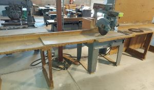 """Rockwell 14"""" radial arm saw 3hp 115/230 volt 1ph motor, comes w/ bench & extra blades (peg board not"""