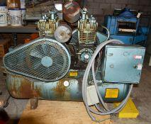 Quincy Air Compressor, 2 - 5 hp Motors and 2 - 5 hp Pumps, 60 Gallon Tank - Needs Work
