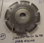 "Shaper Cutters, Cherokee Tool Co, No. 714 Stair Tread Nosing, 11-1/4"" Outside Diameter, 50mm Bo"