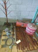 Pallet of Metal Rods, Grinnell Butterfly Valve, Metal Gas Can, Tool Box, & More