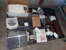 Pallet of Office Equipement & Supplies, Calculator, Lights, Papers, Netgear Wireless G Router,