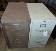2 - 2 Drawer Metal Filing Cabinets with contents