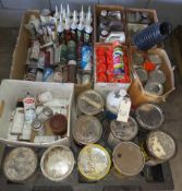 Pallet of Misc. Paint in Gallons, Quarts, & Aerosol Cans, Case of Orange Marking Paint, Dap Caulking