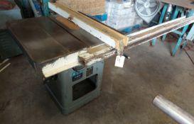 "Rockwell 10"" Unisaw Table Saw, Model #34-466, 3 hp 230/460 volt 3ph Motor, Biesemeyer 57"" Rails &"