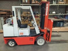 """Nissan 70 Forklift, 6450 lbs, Automatic, sideshift, 3 stage,191"""" Lift Height, Forward & Reverse"""