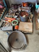 Pallet of Misc Heavy Truck Parts, Filters, Oil Pan, Lights, Springs, Metal Tool Case, Air Cylinders,