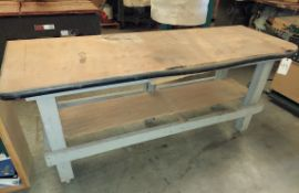 "Wooden Work Bench, 26"" x 76"" x 34"" Tall"