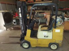 "Yale 4000 LBS LP Forklift, Cushion Tires, Raise, Lower, & Tilt, Fork Height is 186"" Runs,"