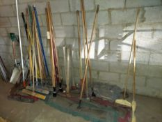 Lot of Gardening Tools, Shovels, Brooms, Pick Axes, & More