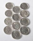 12x 1 Dollar USA. Peace Dollar. 1921-1935