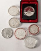 7 different silver coins Canada 1939-2004