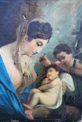 Italian around 1800 , Maria with Jesus and Joseph , oil on canvas. 80x64 cm