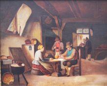 Ferdinand de Braekeleer (1792-1883)-attributed, Dutch card players , oil on oak panel , framed.