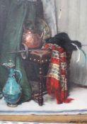 Mechle Grosmann around 1900, style life, oil on canvas , framed. 63x40 cm