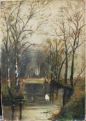Unknown Artist around 1900 , Landscape , oil on canvas. 51x36 cm