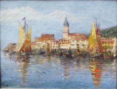 Artist around 1900, Piran , oil on canvas, signed bottom left, framed. 30x38 cm