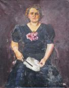 Artist around 1920 , Portrait of a lady, oil on canvas. 110x88 cm