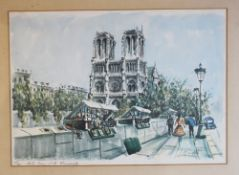 Claude Ducollet , colour graphic on paper , framed under glass around 1950/60, Paris. 20X27cm