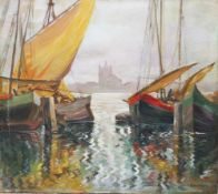 Villa Adolf Kaufmann ( 1848-1916), boats , oil on board , signed. 44x49 cm