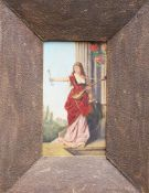 Lucius Rossi around 1900 , Allegory , oil on board , framed, signed. 30x18 cm