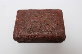 Chinese laquer box, curved, six sign mark. 14x9.5 cm height 6 cm