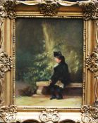 German school 19 th Century, Man in park , oil on wood , monogrammed right , framed. 23x17 cm