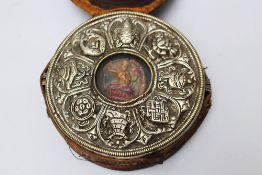 Tibet Pilgrim , Sanctuary, metal glass and textile decorated 19 th Century. 13 cm diameter