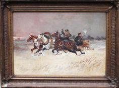 Russian Artist 19 th Century, Troika , oil on canvas , framed , signed. 48x68 cm