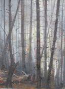 Monogrammist KH , forest oil on canvas , framed, around 1910. 61x45 cm