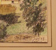 Carl von Lorenz (1891-1978), Landscape pencil on chalk on paper. 17x12 cm