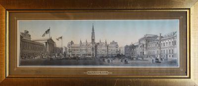 L.E.Petrovits (1839-19907), colour wood cut , Vienna, framed under glass. 20X50cm