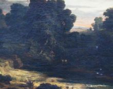 H. Otto , Landscape with shepherdess , oil on canvas, signed , framed 19th Century. 45x72 cm